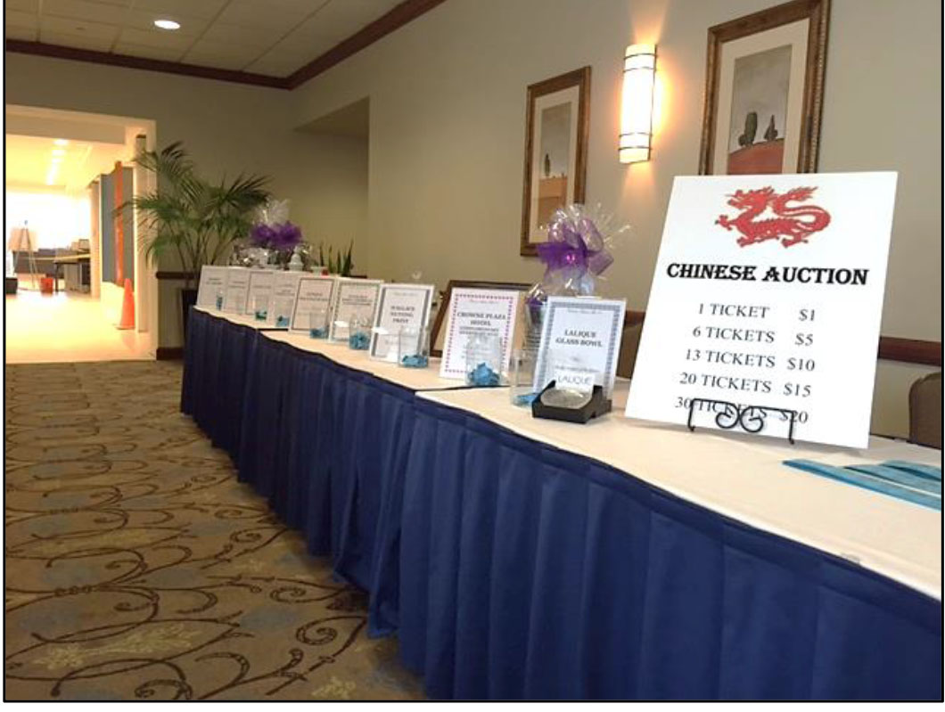 Chinese auction table photo